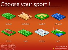 8 icons about sport areas in 128x128 pixels.