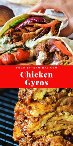 Authentic Greek Chicken Gyros Recipe with Tzatziki Sauce Chicken Gyro Recipe, Chicken Gyros, Chicken Recipes, Lamb Gyro Recipe, Chicken Fajitas, Easy Delicious Recipes, Healthy Recipes, Healthy Foods, Keto Recipes