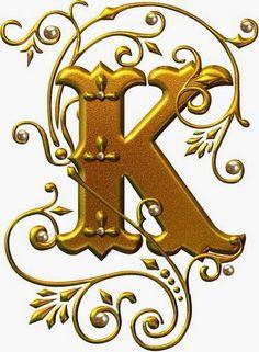 Lindas letras douradas com pérolas em estilo gótico.                                                             Fonte: Alfabetos Lindos...