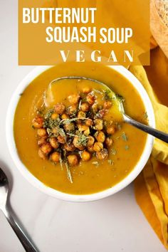 Simple and vegan friendly, this butternut squash soup is topped with crisyp chickpeas instead of croutons and dried sage.  #Soup #Vegan #butternut #squash #easy #recipe Cheap Meals To Cook, Cheap Vegetarian Meals, Cheap Family Meals, Healthy Family Meals, Vegan Dinners, Vegetarian Recipes, Easy Meals, Healthy Recipes, Diner Recipes