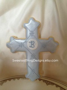 Decorated Cross Cookies | Cross Cookie Favor with initial large / by SweetestThingDesigns, $42 ...