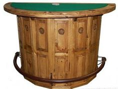 Half Bar Poker Table with Star $405   Rustic Furniture   Western Furniture