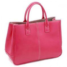 Fuchsia Faux Leather Pure Color Stylish Bag