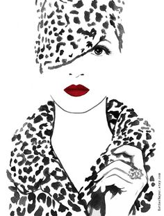 Black White and Red Watercolor Fashion Illustration por EstherBayer
