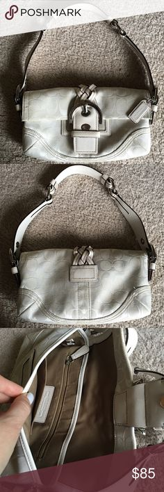 COACH JACQUARD SIGNATURE HANDBAG This is a lovely condition 100% Authentic Coach bag. White/creme color. Jacquard & leather. Adjustable strap. Original hang tag. Magentic closure. Inside has cell phone pocket, small zipper pocket. 10 inches across and 6 inches top to bottom. Monogram. Coach Bags Shoulder Bags