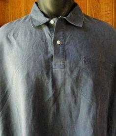 Polo Ralph Lauren Mens XL Pullover S/S 100% Linen Shirt Blue Innis Pocket Beach  #PoloRalphLauren #ButtonFrontPullover