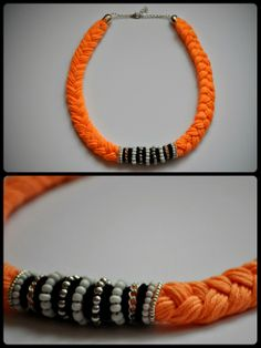 braided orange statement necklace
