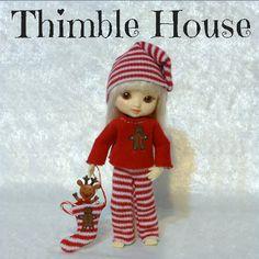 Amelia Thimble Pajamas Handmade Custom Couture: CandyCane Christmas   ThimbleHouse - Dolls & Miniatures on ArtFire