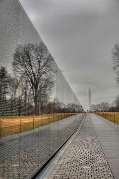 Vietnam Memorial with the Washington Memorial in the background. National Mall, Washington, D.C.
