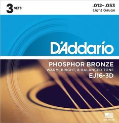 The D'Addario EJ16-3D is a three-set value pack of the company's most popular acoustic guitar strings. With a warm, balanced tone and amazing durability, EJ16s are used by acoustic guitar slingers all over the world. 12 String Acoustic Guitar, Best Acoustic Guitar, Guitar Diy, Guitar Songs, Guitar Tabs, Cool Guitar, Acoustic Guitars, Guitar Scales, Slide Guitar