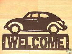 VW BEETLE BUG WELCOME SIGN HOME DECOR PLAQUE GARAGE CAR