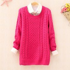 Rose Red Round Neck Long Sleeve Hollow Sweater