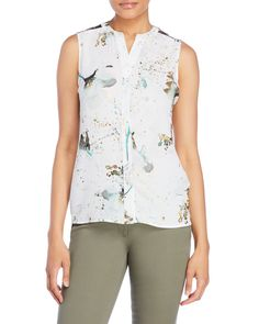 Milano Sleeveless Lace Inset Printed Top