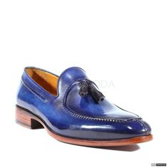 Paul Parkman Handmade Mens Shoes Tassel Hand-Painted Blue Loafers (PM1019)