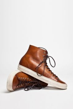 Brown Leather High Top Sneakers, by Buttero Tanino. Mens Fall Winter Fashion.