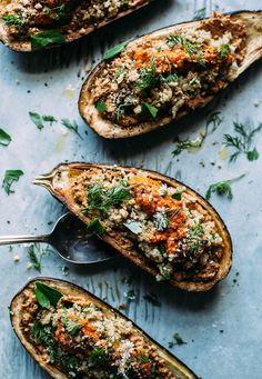 stuffed eggplant with sunflower romanesco, quinoa, and herbs