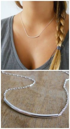A beautiful, delicate tube necklace. Perfect for layering with more necklaces.