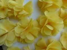Yellow chiffon flowers chiffon lace trim yellow by FabricTrims