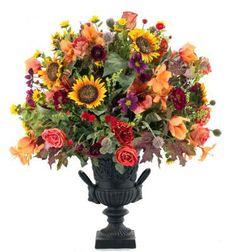 "Sunflower Rose Sunset | Black Cast Iron Urn HEIGHT X WIDTH: 42"" X 35"" TYPE: sunflower COLORS: yellow, gold, orange"