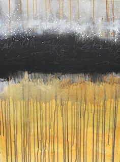 STUDIO SALE Original abstract painting 18x24 canvas vertical wall art, yellow, black, white, orange, drip - Dreamstate 2 by Jessica Torrant