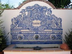 Antigue reproduction of 19th Century Portuguese Tile Fountain - Handmade tiles can be colour coordinated and customized re. shape, texture, pattern, etc. by ceramic design studios