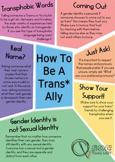 How To Be A Trans Ally       SOME WAYS TO BE A GOOD TRANS ALLY…  •    Don't ever out a transperson. This is dangerous to their safety & can invalidate their identity.  Likewise, be aware of your surroundings when discussing trans issues with a transperson. For their safety & comfort, they may prefer not to discuss these topics in public places or among strangers.•    Always