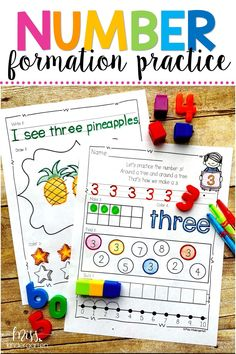 These worksheets can be used as a fun way to incorporate 1-20 number practice in the classroom. They're great for early kindergarten math and more advanced preschool students. These sheets combine learning and fine motor skills. #printables #cutandpaste #mathto20 #misskindergarten