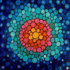 Color Fusion - Colorful Zen Spiritual Mosaic Art by Sharon Cummings.