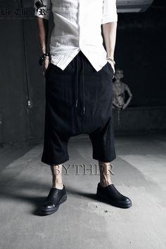 ByTheR - Long Black Linen Drop-Crotch Shorts