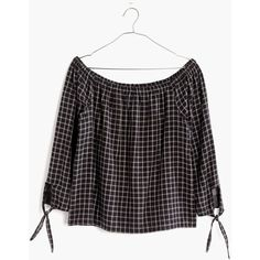 MADEWELL Plaid Off-the-Shoulder Top ($30) ❤ liked on Polyvore featuring tops, buffalo classic black, tartan top, off shoulder tops, madewell tops, tie top and off the shoulder tops