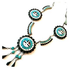 "Beautiful Vintage Zuni Squash Blossom Necklace Signed by J.D. Massive, Sterling Silver, Sleeping Beauty Turquoise, Onyx, MOP, and Coral. From the late 50's. Over 32"" long. In beautiful pristine condition. Zuni Jewelry Necklaces"