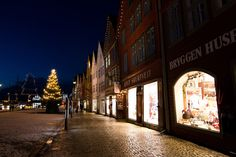 Bryggen and the Statsraad Lehmkuhl during Christmas time, Bergen