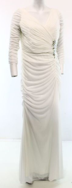 Adrianna Papell NEW Ivory Women's Size 10 Ruched V-Neck Chiffon Dress $199 #AdriannaPapell #Sheath #Formal