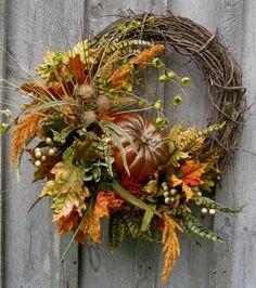 Fall Wreath, Autumn Wreaths, Thanksgiving, Harvest, Pumpkin Wreath, Elegant Fall…