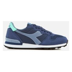 Diadora Women's Camaro Trainers - Blue Depths/Blue Ice (110 CAD) ❤ liked on Polyvore featuring shoes, sneakers, blue, woven sneakers, retro sneakers, diadora sneakers, blue trainers and low top