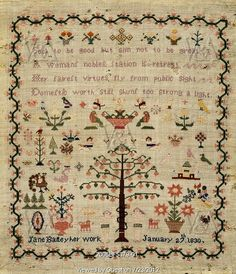 Sampler embroidered with text and  animal, floral and religious motifs, by Jane Bailey. England, 1830