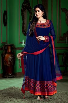 Trendy Royal #Blue georgette thread worked flared #anarkali in boat neck along with royal blue chuddi bottom & royal blue plain georgette dupatta in #Red Thread work Border