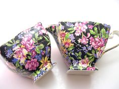 Antique 1940's Royal Winton Chintz Open sugar bowl and Creamer, Royal Winton Nantwich cream and sugar set, Royal Winton Grimwades Chintz