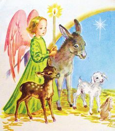 "Detail from ""Away In a Manger"" from ""Christmas Carols"" illustrated by Corrine Malvern, 1946"