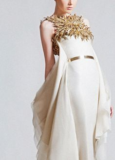 Gold leaf detail and ivory belted ruffle gown - Krikor Jabotian Haute Couture Gowns, Couture Fashion, Runway Fashion, Women's Fashion, Gold Wedding Gowns, Bridal Gowns, Wedding Dresses, Wedding Bells, Dali
