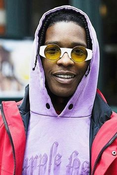 ASAP Rocky wearing Palm Angels 'Purple Haze' hoodie, Gosha Rubchinskiy  Retro Superfuture Sunglasses