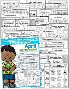 Teach number concepts, colors, shapes, letters, phonics and so much more with the April NO PREP Packet for Preschool!