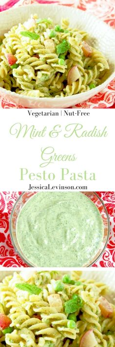 Whole grain pasta is tossed with peas, roasted radishes, and a nut-free mint and radish greens pesto in this light and delicious spring pasta dish. Get this vegetarian, nut-free, and easily gluten-free recipe @jlevinsonrd.