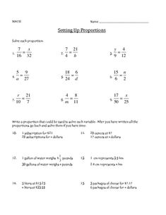 Setting up Proportions - Math Worksheet | Proportion math ...