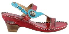 L'artiste by Spring Step Women's Dreamer dress Sandal, Red/Multi, 36 EU/5.5-6 M US. Material is naturally soft, light, and breathable. Hand painted, tooled, and stitched; high quality full leather uppe. Comfort padded footbed with whip stitch artisan design. Rubber outsole with a moderate stacked wooden heel.