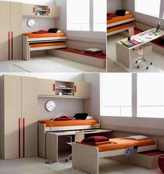 Wow. Soace saving beds and study table, rather like this then a bunk bed.