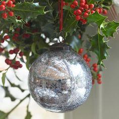 Hand Blown Glass Crackle Glaze Christmas Bauble - Dark SIlver