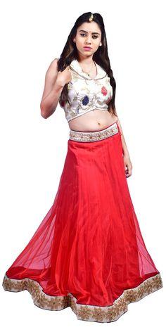 Shop here for designer white top with red net lehenga only at sairandhri.com