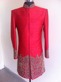 red sherwani with hand embriodery only at sagar tenali.