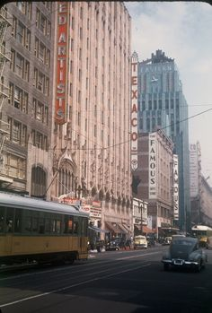 These images were shot by my father, Ed Alinder, on 35 mm Kodachrome film in Southern California in 1940-44, and on a visit in 1947. Broadway, Los Angeles, CA, 1947.